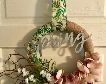 Spring Wreath, Orchids, Fern, Home Decor, Wall Decor