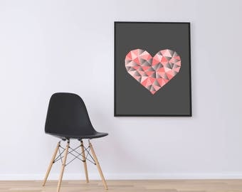 Pink Heart Wall art, Digital Wall Art, Pink Gray Print, Download Print, Instant download, Printable Art, Mozaik Wall Decor, Heart Poster