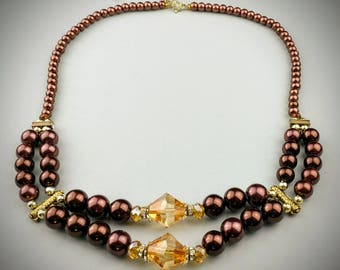 Brown necklace, brown beaded necklace, gold beads, chocolate brown, brown gift for her, wife, sister, mother, friend, grandmother