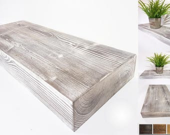 Rustic Floating Shelves | Chunky Wood Shelf | Weathered/Distressed |Solid Wood| 20cm x 5cm |