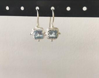 Small cushion cut blue topaz earring