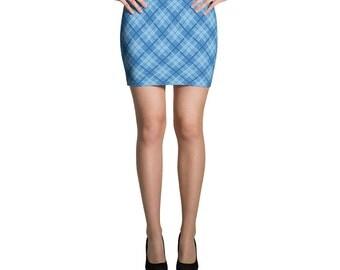 Cute Blue Plaid Mini Skirt