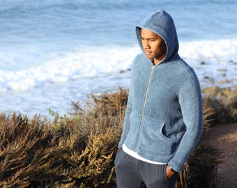 Terry Cotton Hoodie - Colonial Blue