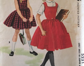 McCalls 5231 Girls' Dress or Jumper and Blouse 1950s