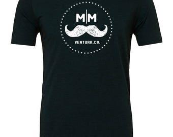 Black Mustache Mafia Logo T-Shirt / Mustache Shirt / Ventura County