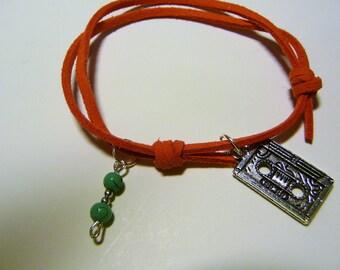 Bracelet 1990, tangerine, tape, turquoise beads charm suede