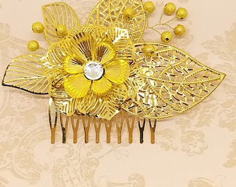 Gold Leaf Hair Comb, Leaf Hairpiece, Gold Hair Comb, Gold Leaf Headpiece, Bridesmaid Gold Leaf Hair Comb, Flower Hair Comb, Gold Bridal Comb