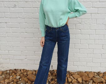 Vintage Soft Mint Pullover Knit Sweater Cuffed Sleeves