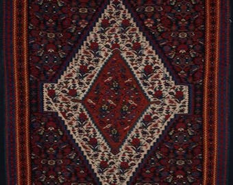 Old Senneh Kilim, Traditional Design, Small Size, About 40yrs Old