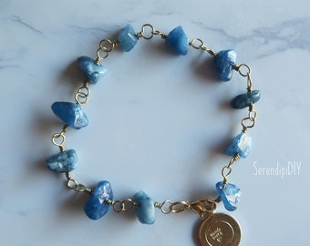 Customized Semi Precious Beads Bracelet - Blue Quartzite Chips Stone