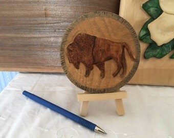 Bison Hand Carved Miniature Relief Butternut Buffalo, Western Cowboy