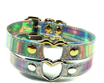 Holographic Choker - O Ring Holographic choker - Pvc Vinyl  - Iridescent Choker Collar - Buckle Choker - Holographic Choker