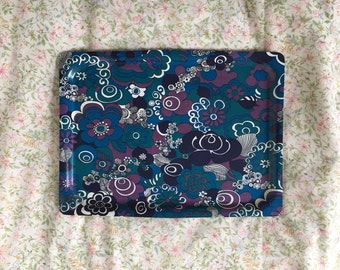 Retro 60s Purple and Blue Floral Drinks Tray