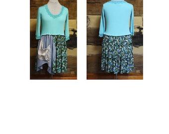 Womens Boho Tunic Dress tattered Mori Girl Hippie Clothes Anthropolgie Style Upcycled Clothing Plus Size