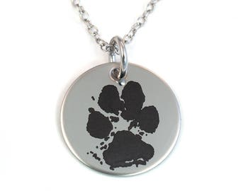 Pawprint Necklace - Actual Pawprint - Stainless Steel - Pet Memorial