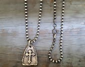 SHIELD OF FAITH, Long Silver Cross Necklace, Cross Medallion, Cross Medal, Oxidized Sterling Silver Chain, Silver Cross Pendant