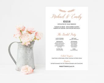 Wedding Program Sign - Wedding Program Poster - Wedding Itinerary - Wedding Party Sign - Rose Gold - Wedding Reception Signs - Printable DIY