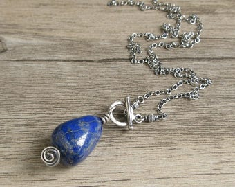 Sterling Silver Lapis Lazuli Necklace, Chunky Lapis Pendant, Blue Gemstone, Toggle Clasp Necklace