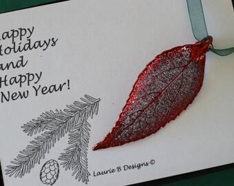 Leaf Ornament Copper, Real Leaf Evergreen, Leaf Extra Large, Ornament Gift, Christmas Card, Copper Leaf, Tree Ornament, Wedding, ORNA97