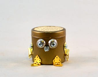 BOT THOUGHTS: Little Robots with Secret Messages, Assemblage Art Recycled Robot Sculpture, Alternative Fortune Cookies