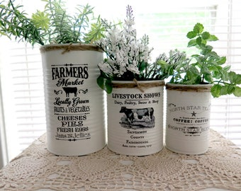 Tin Can Storage Container, Farmhouse Inspired,  Set of 3,  Hand Painted, Distressed Vintage Inspired Tin Cans