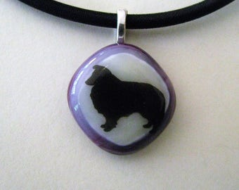 Sheltie Dog Pendant,  Sheltland Sheepdog Pendant, Shetland Sheepdog Fused Glass Pendant, Sheltie Necklace
