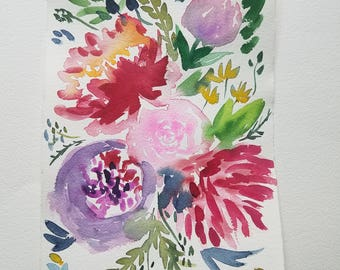 Fall Floral Watercolor - Hand Painted Original