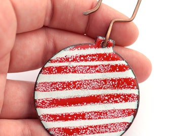 Red and White Enameled Christmas Ornament, Candy Cane Stripe Ornament, Holiday Ornament, Holiday Decor, Handmade Holiday, Winter Decor