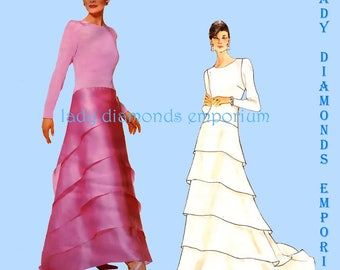 Vintage Vogue 1961 Carolina Herrera Evening Gown Long Sleeves Fitted Bodice Tiered Skirt size 8 10 12 Sewing Pattern Uncut FF