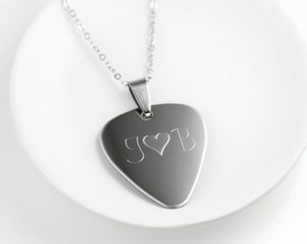Guitar Pick Necklace - Personalized Guitar Pick - Initial Necklace - Stainless Steel Necklace - Engraved Necklace For Men - Name Necklace