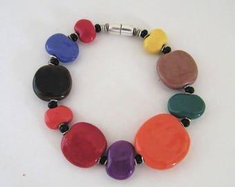Sterling Magnetic Kazuri bracelet