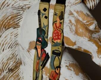 Mens Christmas Gift, Men's Suspenders, Rock & Roll Suspenders, Burning Man Suspenders Vintage Suspenders, Musicians Gift, Art Suspenders,