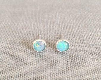 Australian Opal Studs - 6 mm - Opal Earrings - Genuine Opal - Opal and Silver Earrings - Opal Post Earrings - Tiny Opal Earrings - Dainty