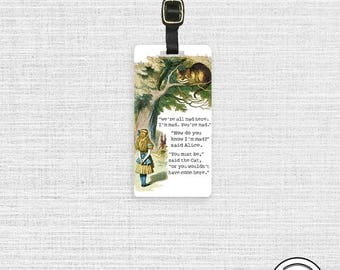 Luggage Tag Adventure In Wonderland Alice Chesire Cat Luggage Tag  With Printed Custom Info On Back, Single Tag