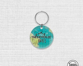 Acrylic Keychain Adventures Awaits , Key Chain Key Ring