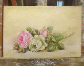 Peinture, tableau, toile , Roses anciennes sur entablement , © Hélène Flont Designs