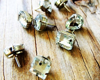 PUSH PINS Thumbtacks Pushpin Decorative Cute Gold Silver Thumb Tack Rhinestone Gem Crystal Diamond Bling Office Supplies Cubicle Decor Sets
