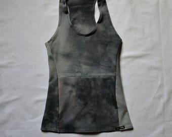Grey yoga top womens earthy organic tanks hand dyed boho shirts festival psy trance witchy style clothes dark fashion alternative racerback