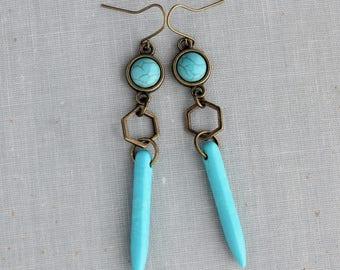Turquoise Earrings. Hexagon Earrings. Spike Earrings. Long Earrings