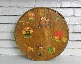 Vintage 1970s Childs Frog Mushroom Owl Decoupage Wooden Shaker Hat Box // Childrens Storage