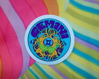 Gemini Sticker... 3 Inch Thick Vinyl Sticker... Zodiac Sticker