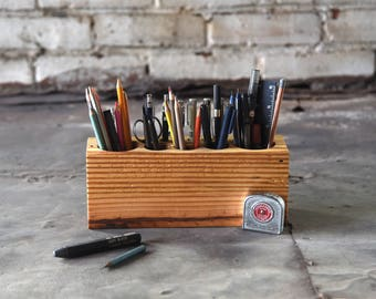 Personalize Desk Accessory, Large Reclaimed Wood Desk Caddy, Organizer, Tool Caddy, Gift for Men, Husband, Anniversary Gift, Peg and Awl
