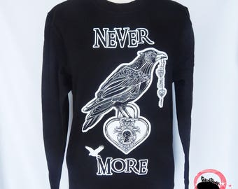 8th Sin Original Never More Sweatshirt, Never More Jumper, Raven Sweatshirt, Raven Sweater, Crow Sweater, Gothic Sweatshirt, Unisex Sweater