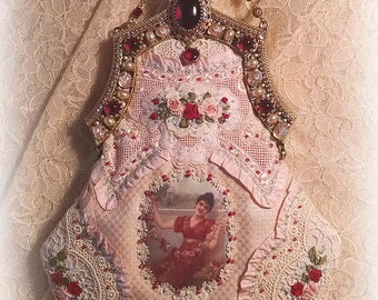 Antique Style Victorian Edwardian Romantic Silk Ribbon Roses Purse  - Jeweled Frame - Antique Lace Trim - Silk Ribbonwork Embroidery
