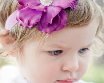 Purple Flower Headband, baby headband, flower girl hair accessories, hair acessories for little girl