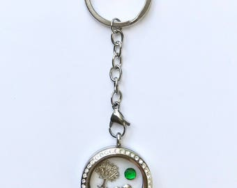 Floating charm locket key chain for sister, stainless steel twist top locket key ring with stones, keepsake sister gift, you choose charms