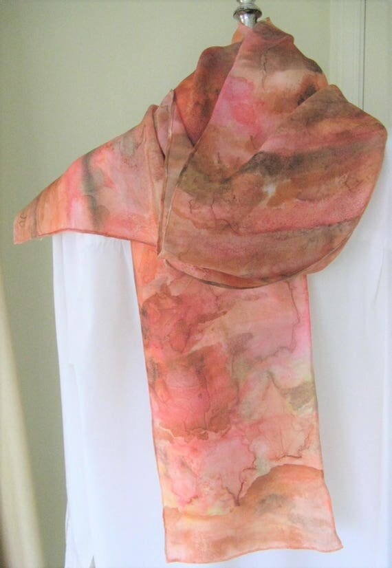 Hand Painted Silk Scarf Canadian Maple Leaf Design Brown