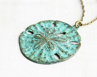 Large Aqua Blue Patina Sand Dollar Pendant Necklace on Antiqued Brass Chain, Beach Lover Jewelry Gift
