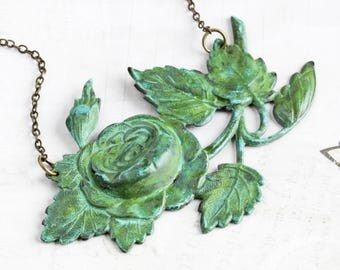 Large Green Patina Rose Pendant Necklace on Antiqued Brass Chain (Hand Patina)