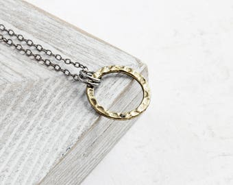 Small Antiqued Gold Plated Circle Necklace on Gunmetal Black Chain
